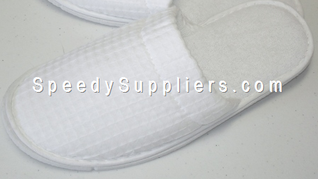 Spa Slippers Waffle Weave White Pair