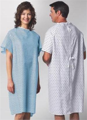 Wholesale Hospital Patient Gowns 52x42 Tie Back Printed
